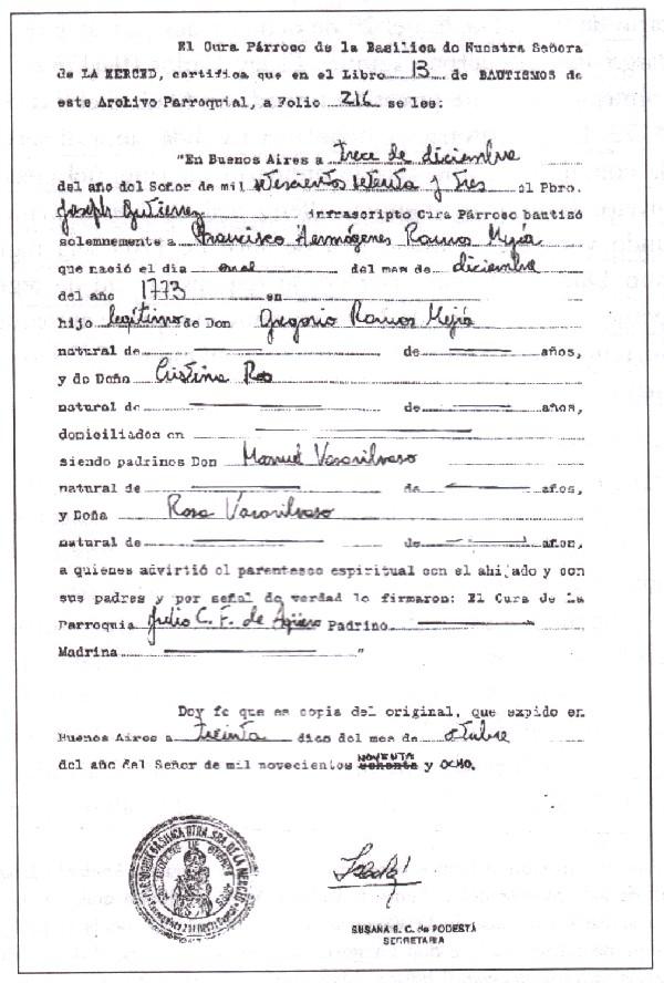 Francisco Ramos Mejia Historia